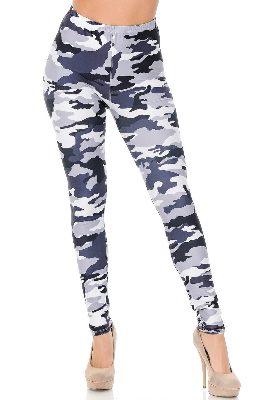 These Creamy Soft Black and White Camouflage Leggings feature a comfort elastic stretch waist that comes up to about mid rise.