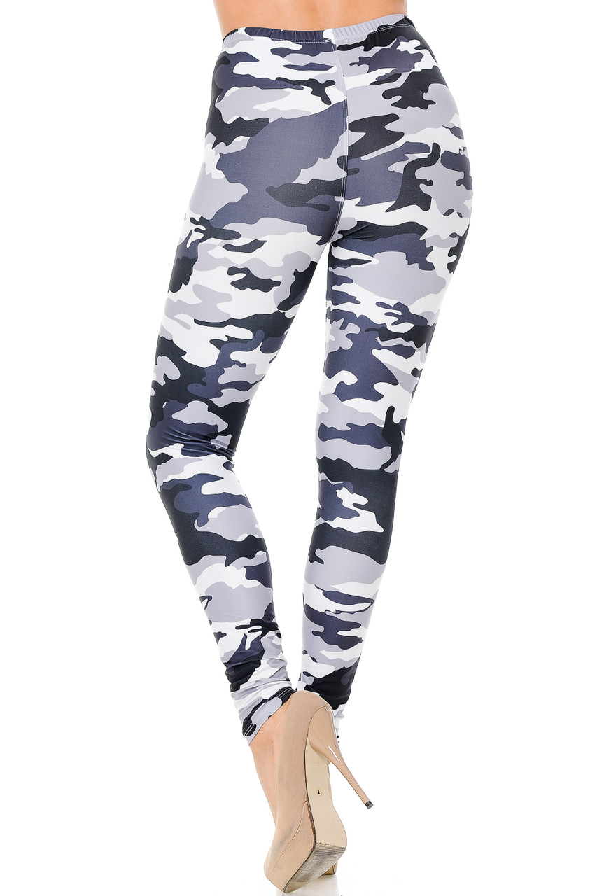 These Creamy Soft Black and White Camouflage Leggings feature a flattering body-hugging fit.