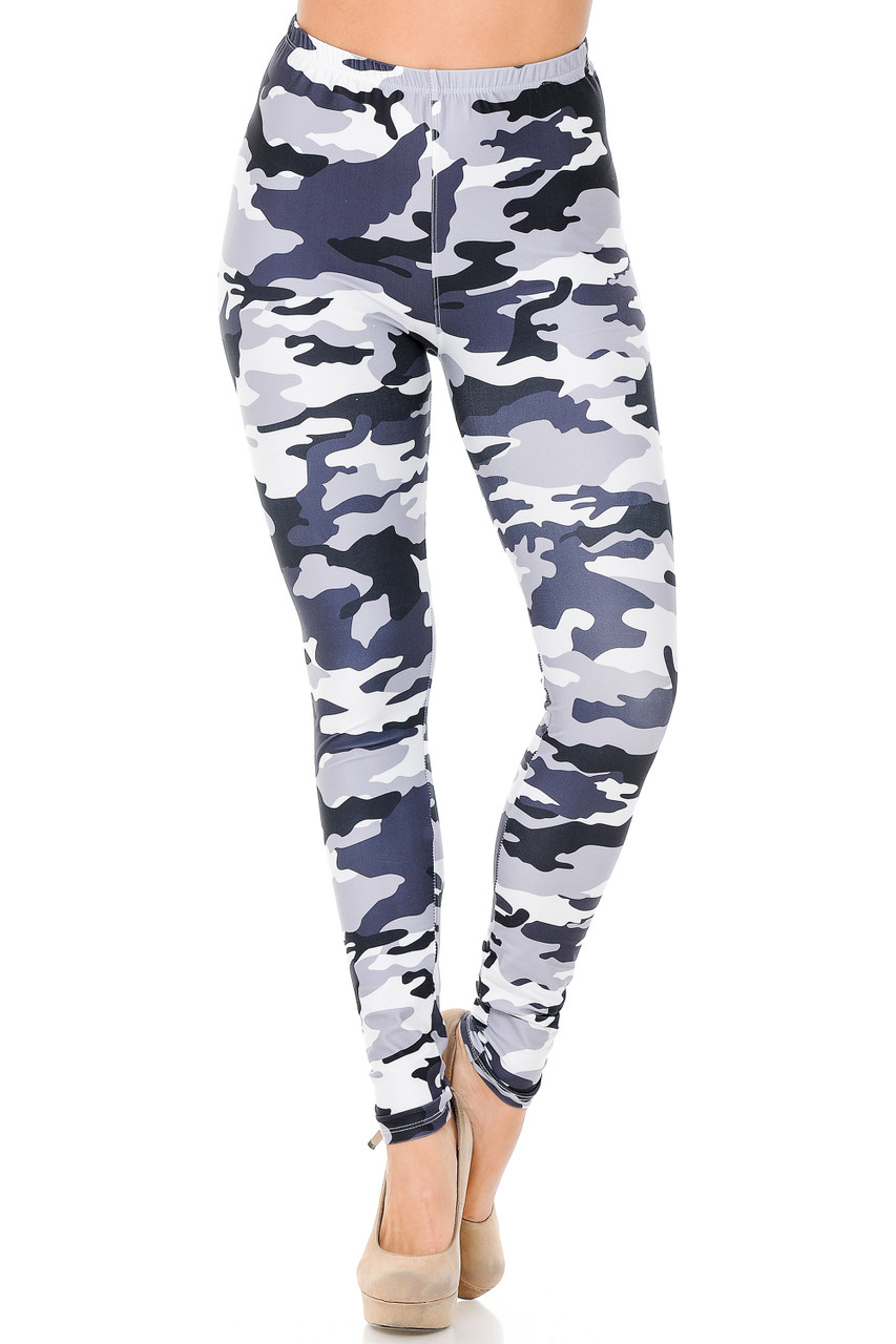 Front view of our full length skinny leg cut Creamy Soft Black and White Camouflage Leggings