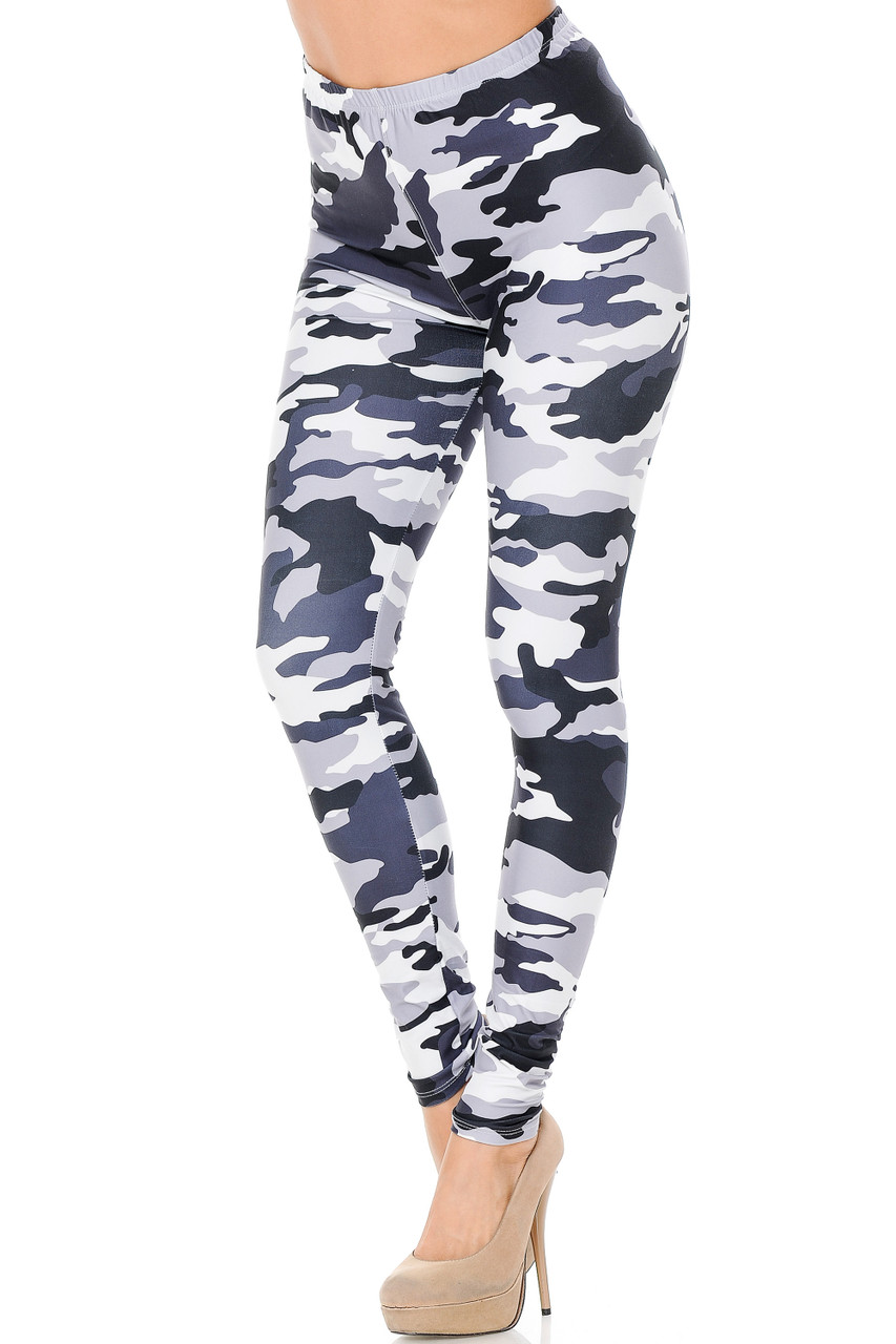 Our neutral toned Creamy Soft Black and White Camouflage Extra Plus Size Leggings  feature a monochromatic army print design in a gray, black, and white palette.