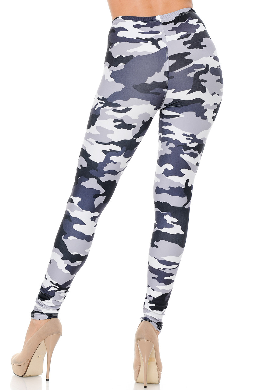 Our Creamy Soft Black and White Camouflage Extra Plus Size Leggings feature a neutral color scheme that is ideal for any season.
