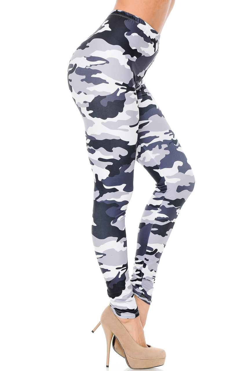 Right side leg view of Creamy Soft Black and White Camouflage Extra Plus Size Leggings - 3X-5X