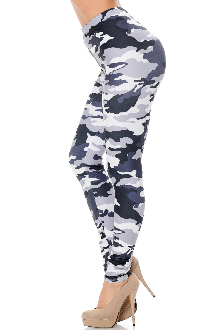 Left side view of Creamy Soft Black and White Camouflage Extra Plus Size Leggings - 3X-5X