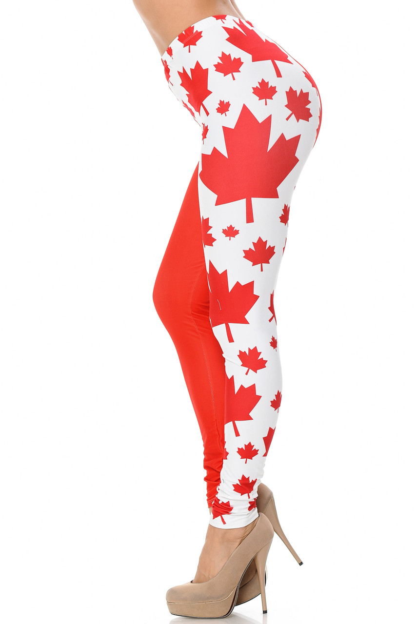 Left side view of Creamy Soft Canadian Flag Leggings