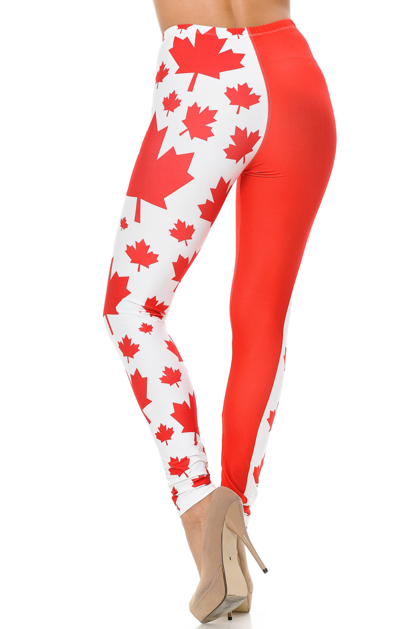 Back view of Creamy Soft Canadian Flag Leggings