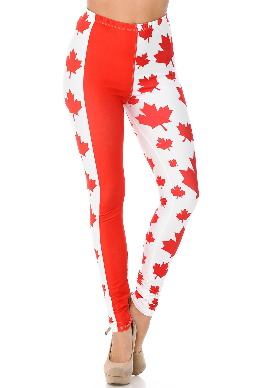 These Creamy Soft Canadian Flag Leggings feature a elastic comfort stretch waist that comes up to about id rise.