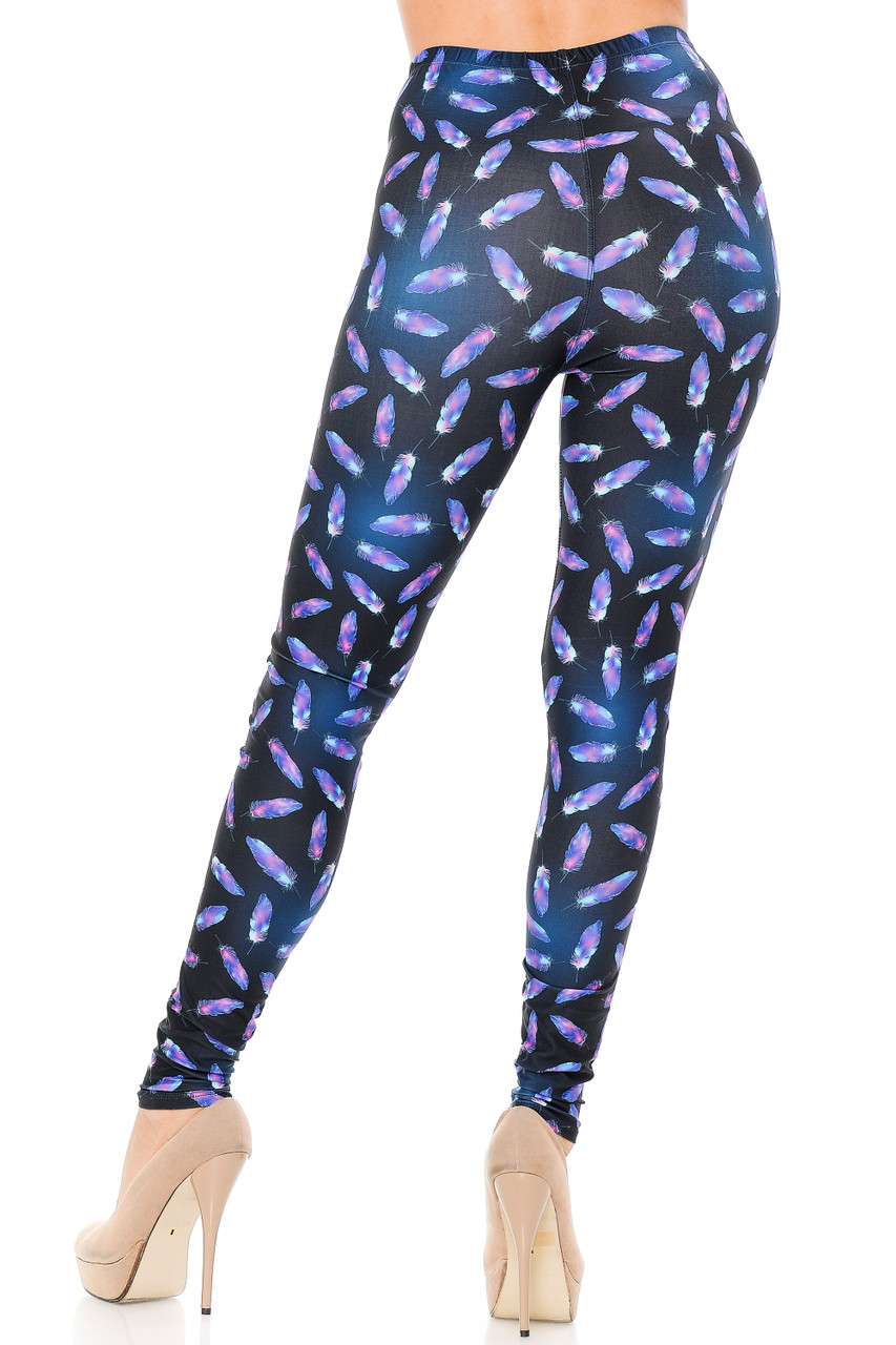 Rear view image of our Creamy Soft Glowing Iridescent Feathers Leggings showcasing a body-hugging figure flattering cut.