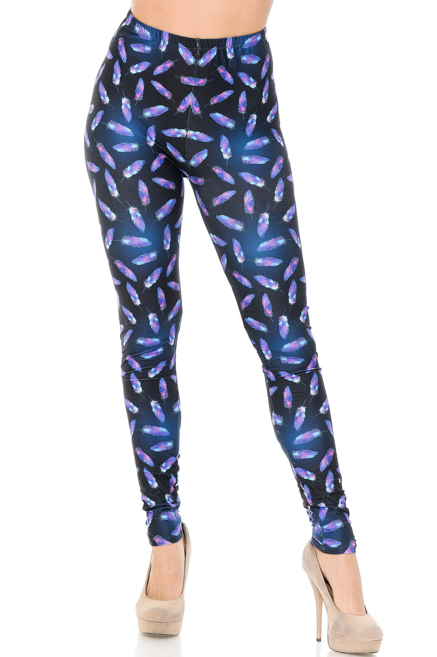These Creamy Soft Glowing Iridescent Feathers Leggings feature a full length skinny leg cut.