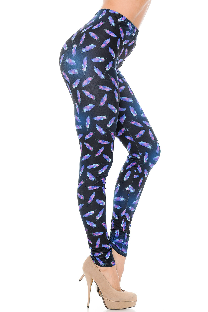 Right side view of our Creamy Soft Glowing Iridescent Feathers  Leggings, ideal for any season.