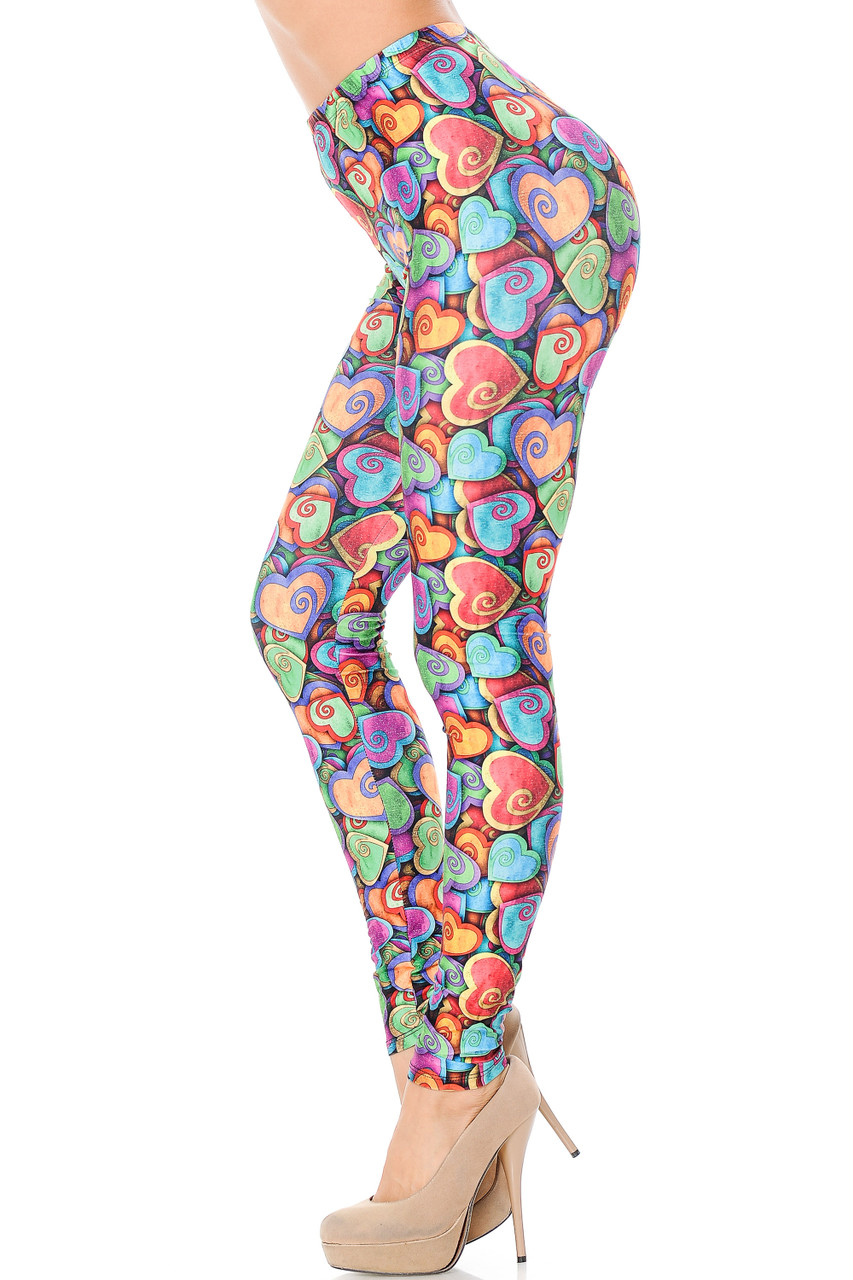 Left side view of Creamy Soft Venetian Hearts Extra Plus Size Leggings - 3X-5X