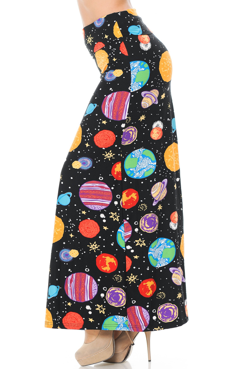 Right side view image of our Buttery Soft Planets in Space Maxi Skirt featuring a colorful print of planets with white stars on a black space sky background