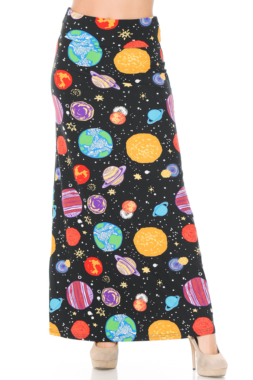 Front view image of our Buttery Soft Planets in Space Maxi Skirt featuring a high comfort fabric waist.