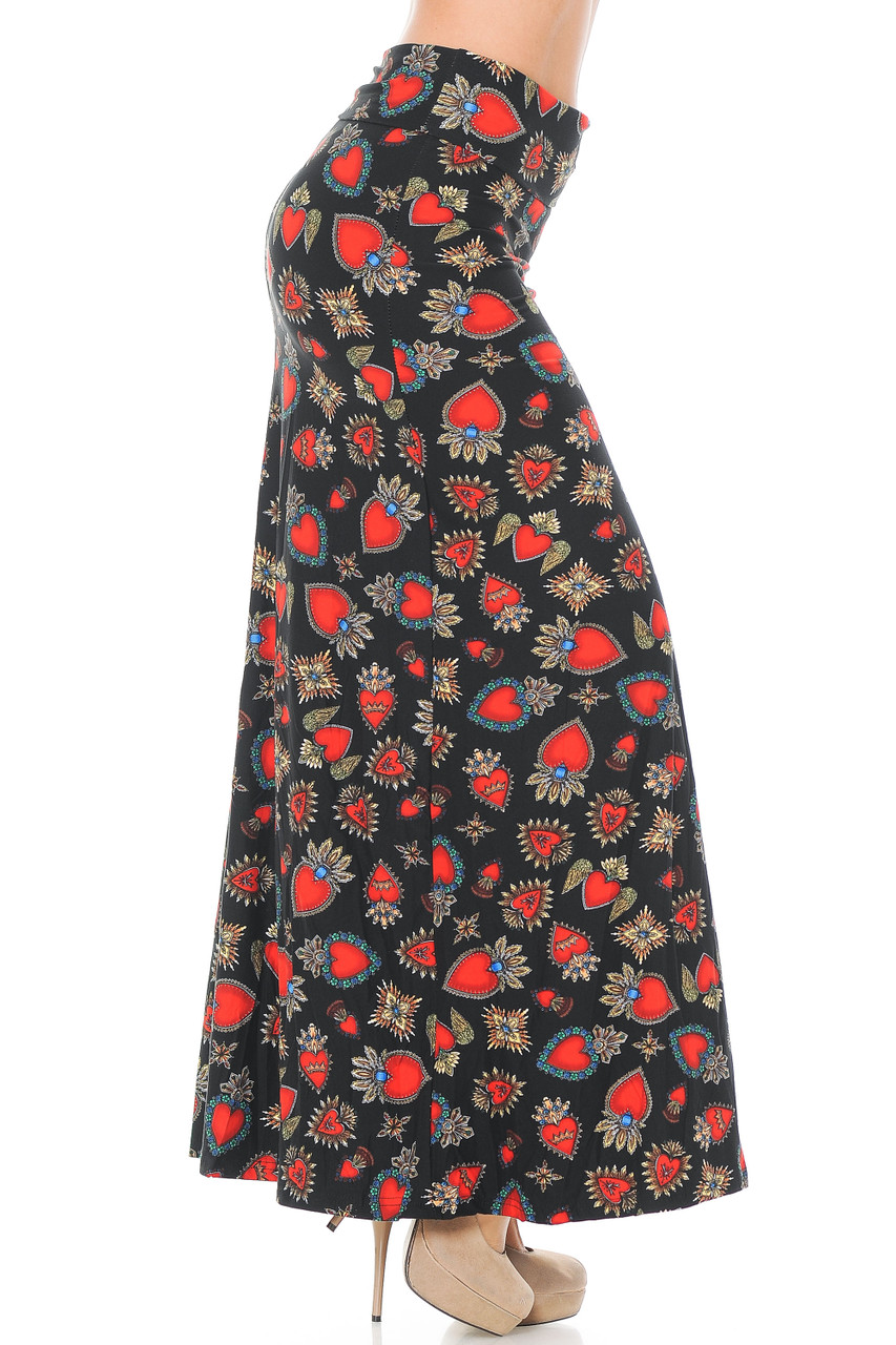 Right side view of Buttery Soft Jeweled Hearts Maxi Skirt