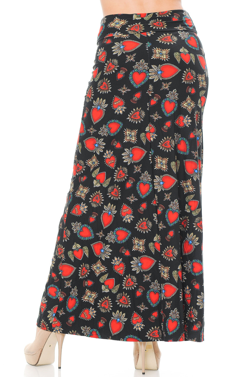 Our Buttery Soft Jeweled Hearts Maxi Skirt features a long length that goes below the ankle, depending on height and shoe pairing.