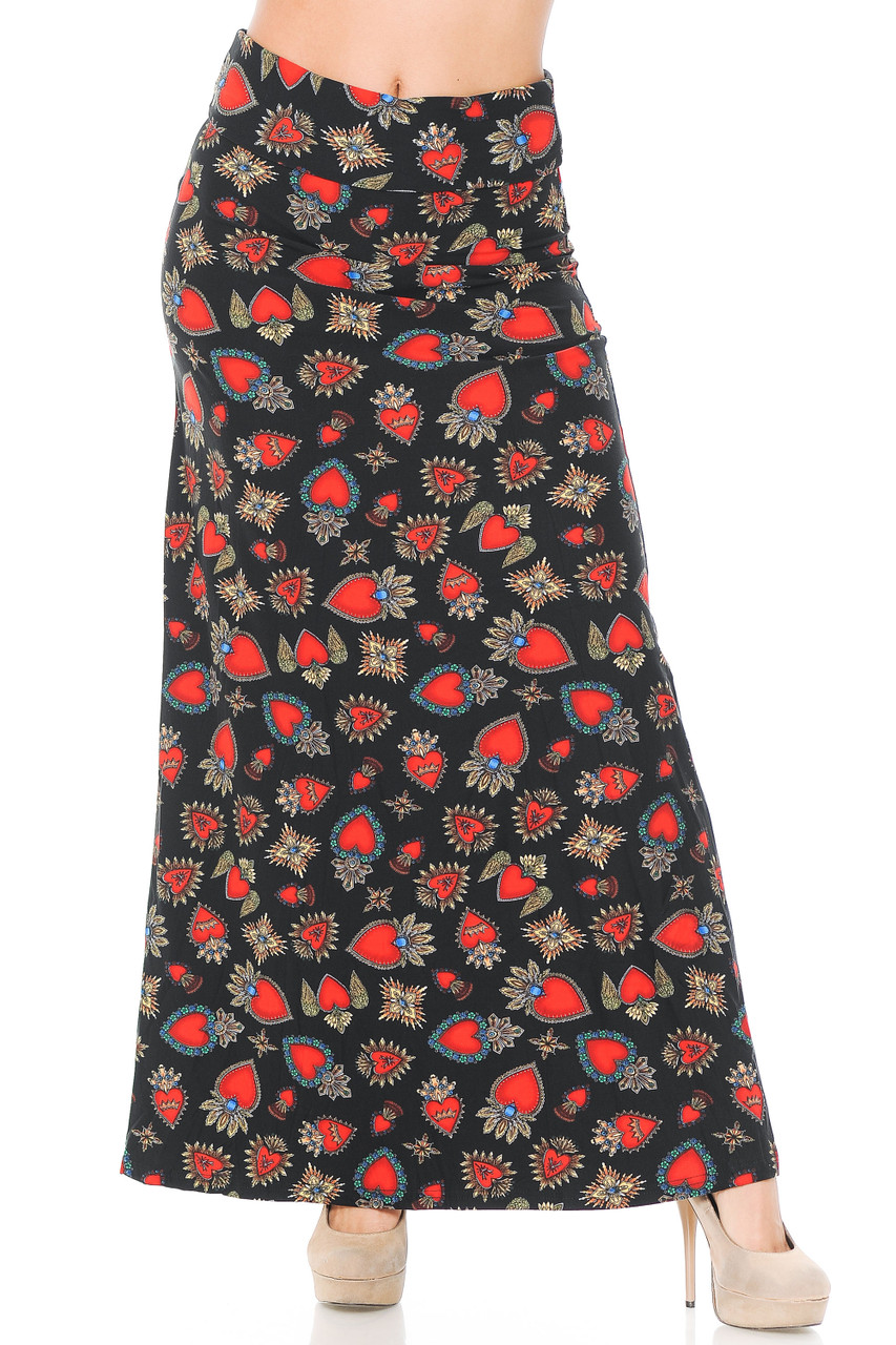 Front view image of our Buttery Soft Jeweled Hearts Maxi Skirt featuring a high comfort fabric waist.