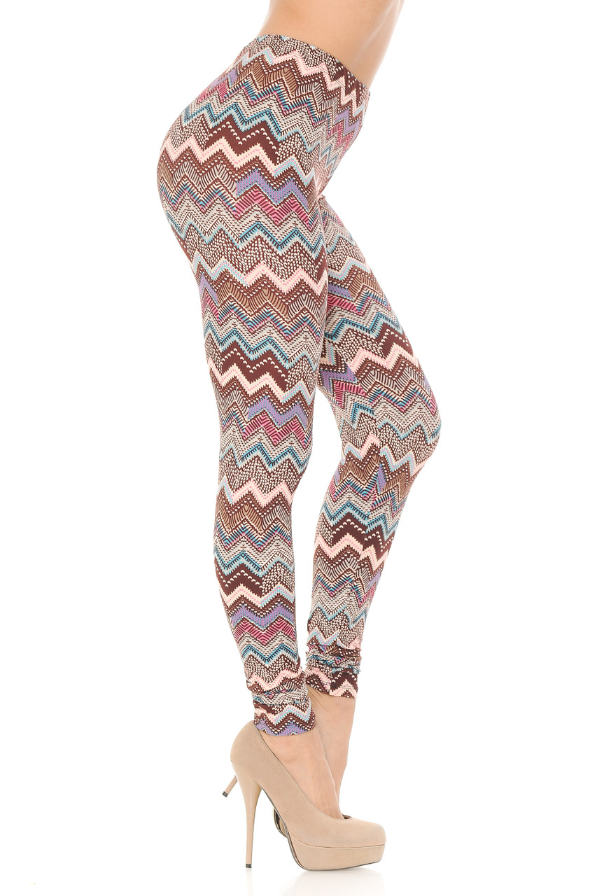 Right side view of Buttery Soft Earthen Chevron Plus Size Leggings