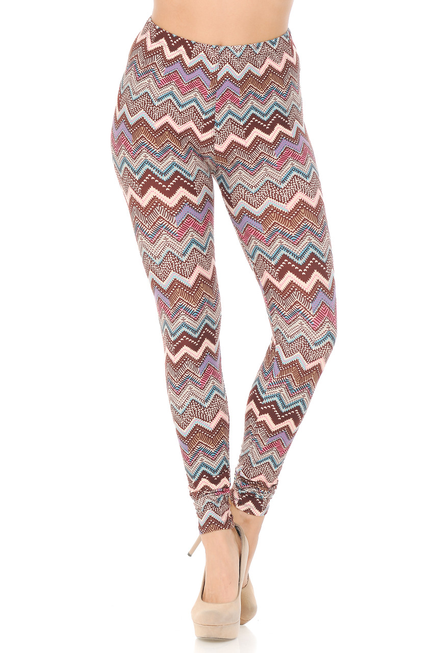 Front facing view of Buttery Soft Earthen Chevron Plus Size Leggings featuring an elastic comfort stretch waistband that comes up to about mid rise.