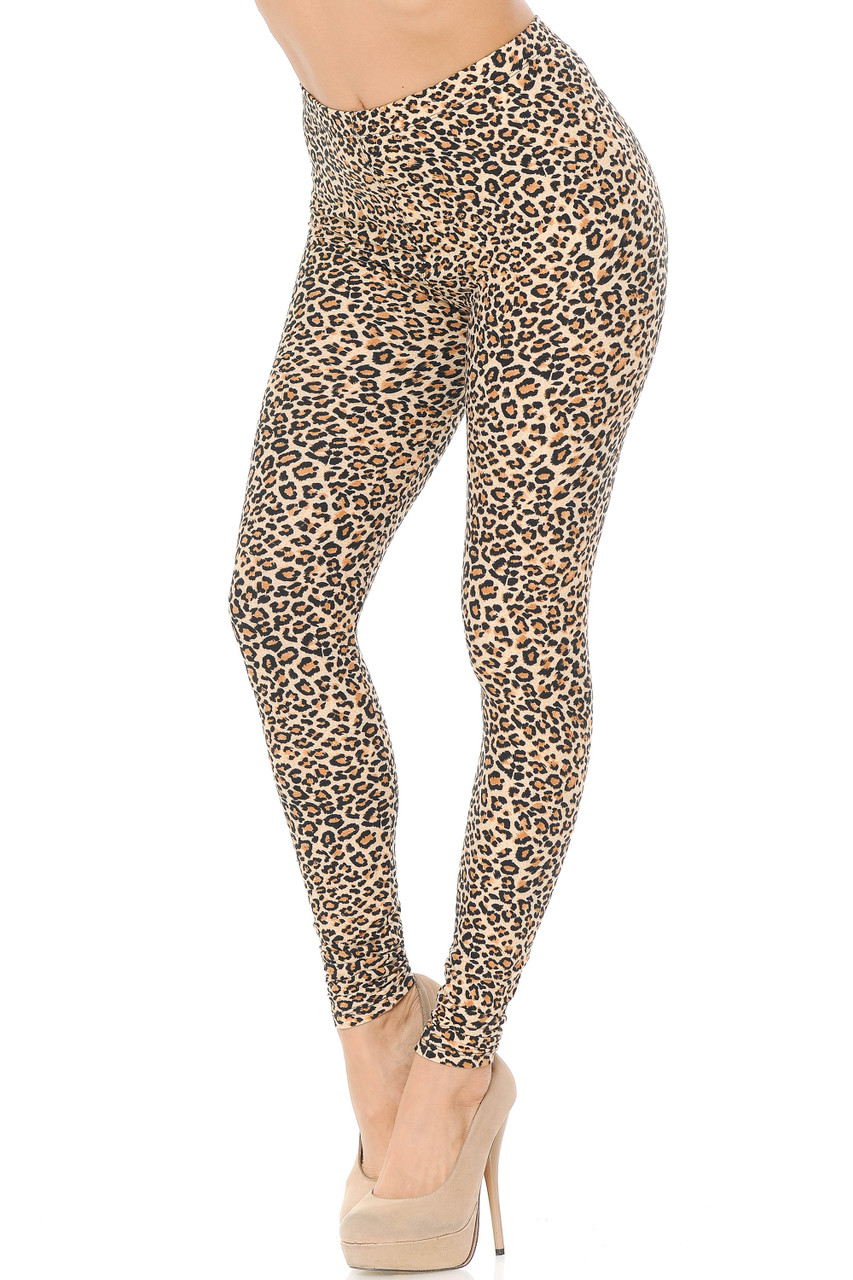 With a sassy all over animal print design these Buttery Soft Savage Leopard Extra Plus Size Leggings feature a classic beige and black color scheme that is suitable for any season.