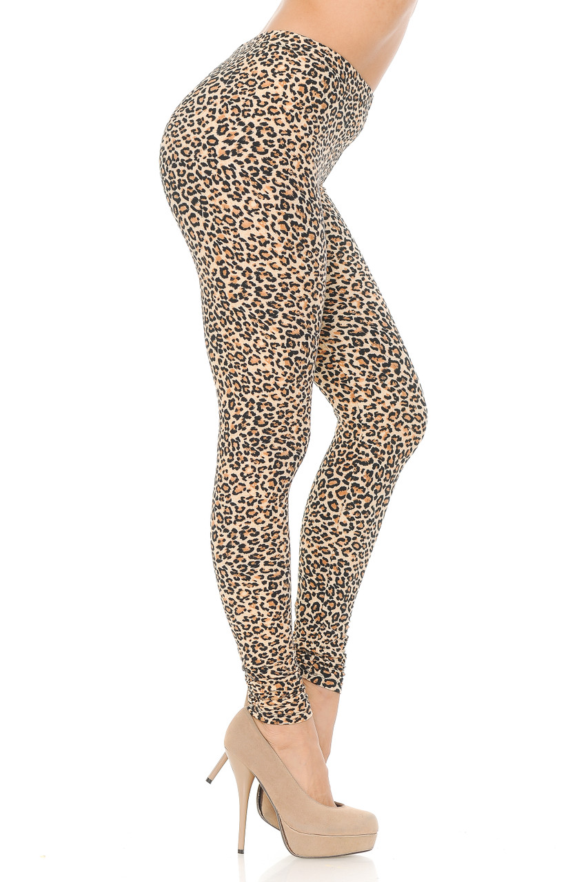 Right side view image of Buttery Soft Savage Leopard Extra Plus Size Leggings.