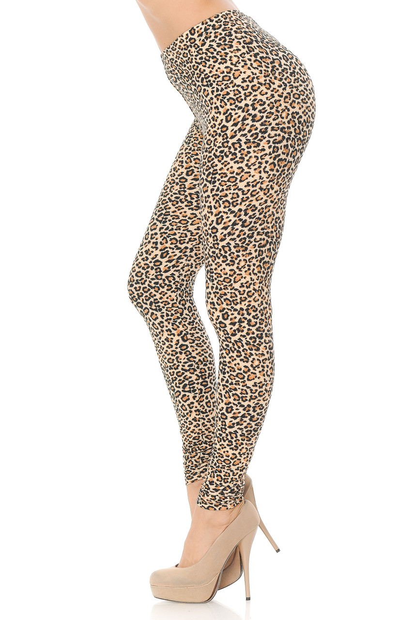 Left side view image of Buttery Soft Savage Leopard Extra Plus Size Leggings.