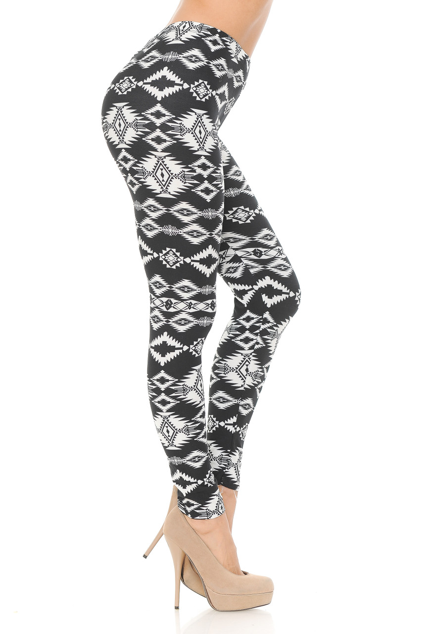 Right side view image of Buttery Soft Midnight Solstice Tribal Plus Size Leggings