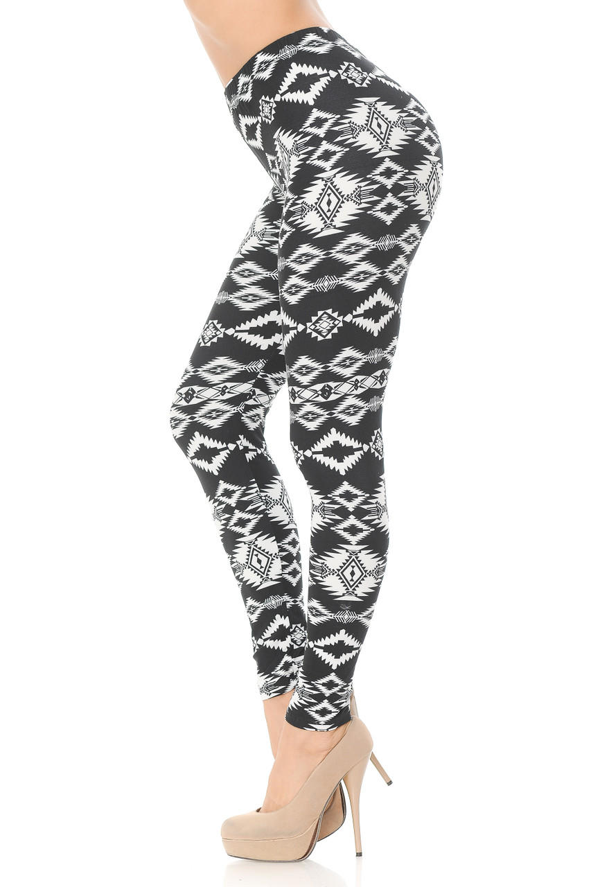 Left side view image of Buttery Soft Midnight Solstice Tribal Plus Size Leggings