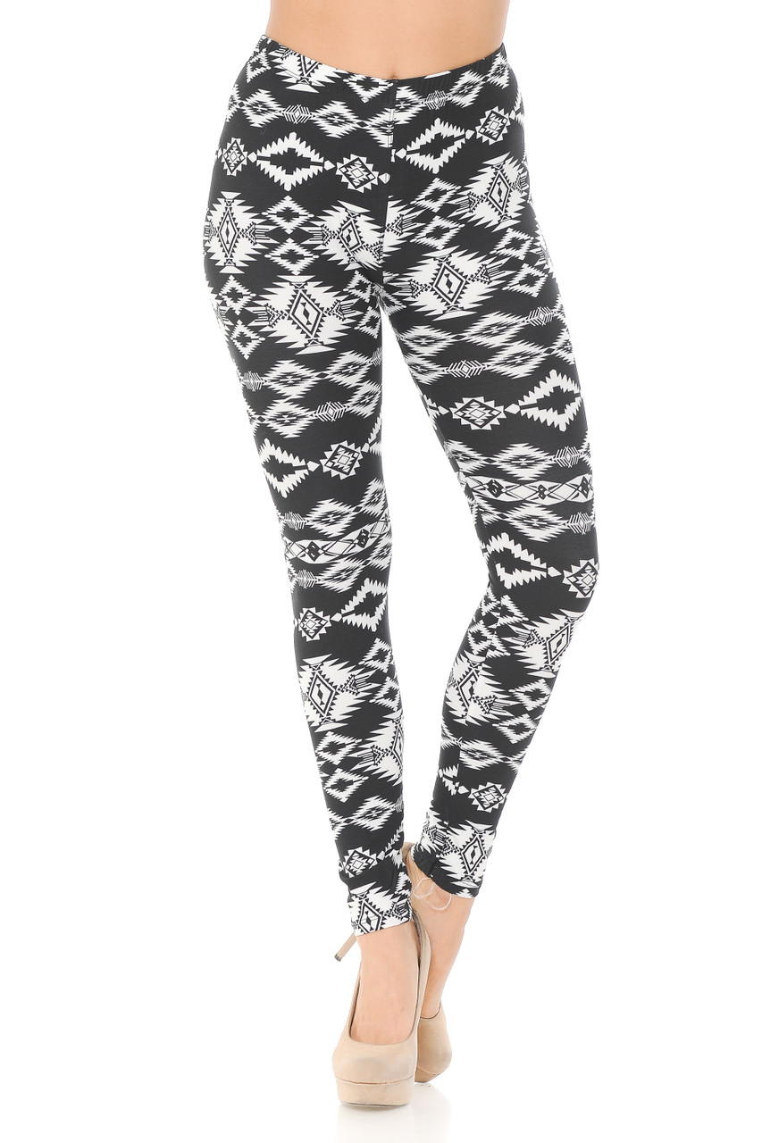 Front facing image of Buttery Soft Midnight Solstice Tribal Plus Size Leggings