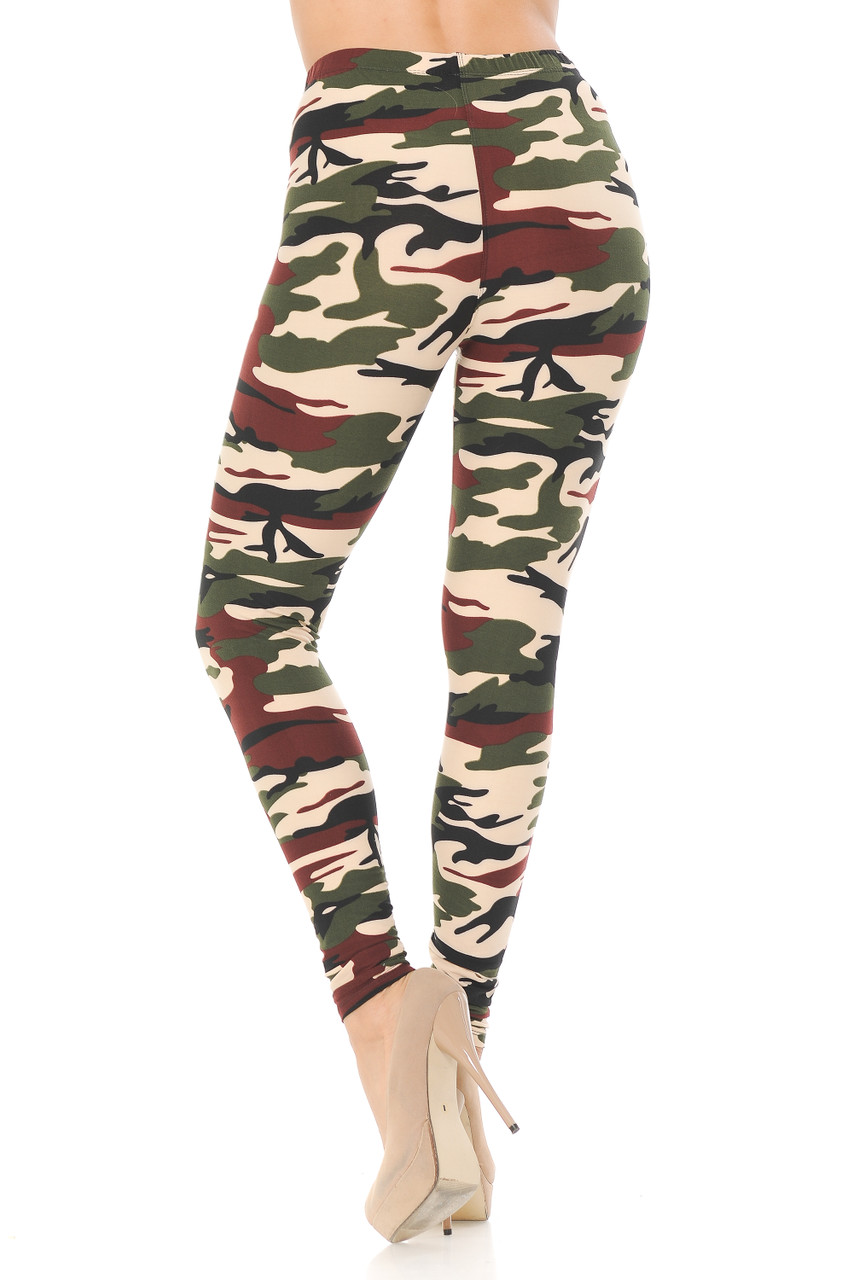 Back view image of Buttery Soft Cozy Camouflage Plus Size Leggings