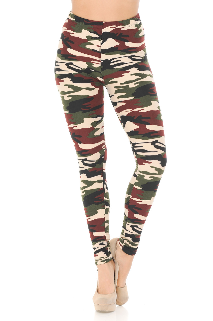 These Buttery Soft Cozy Camouflage Leggings feature a comfort fabric waist.