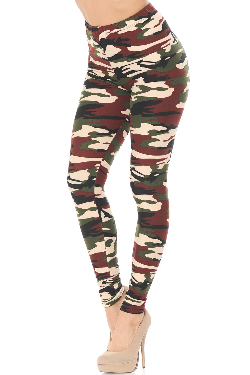 Our Buttery Soft Cozy Camouflage Plus Size Leggings feature a classic army print design with a mixed brown and olive color scheme.