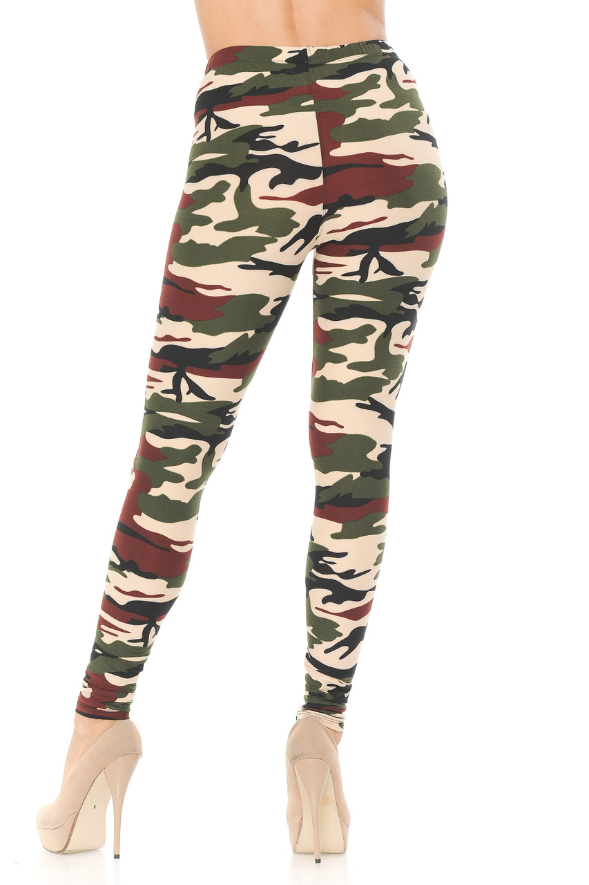 Rear view image of our Buttery Soft Cozy Camouflage Plus Size Leggings feature a flattering body fitted style.