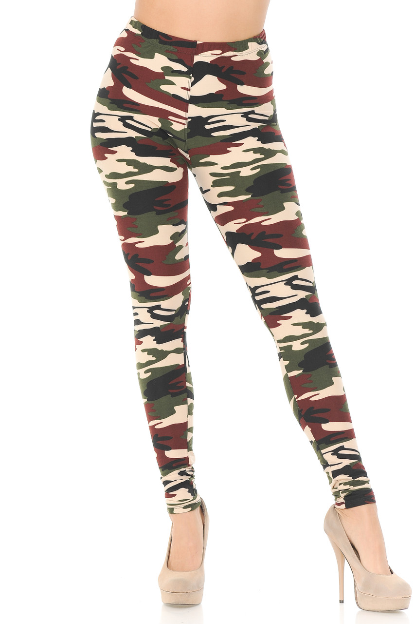 Our Buttery Soft Cozy Camouflage Plus Size Leggings feature a full length skinny leg cut.