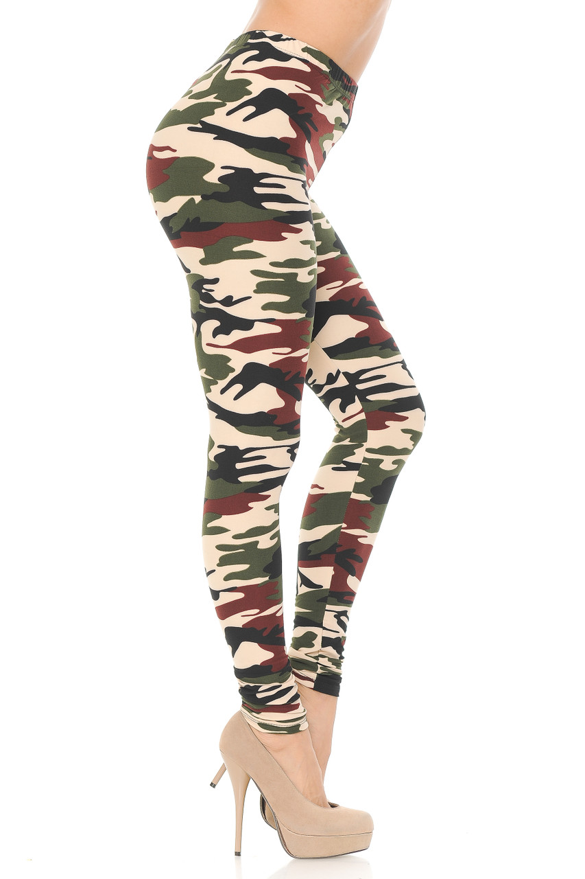 Right side view image of our Buttery Soft Cozy Camouflage Plus Size Leggings  with a look that is ideal for any season.