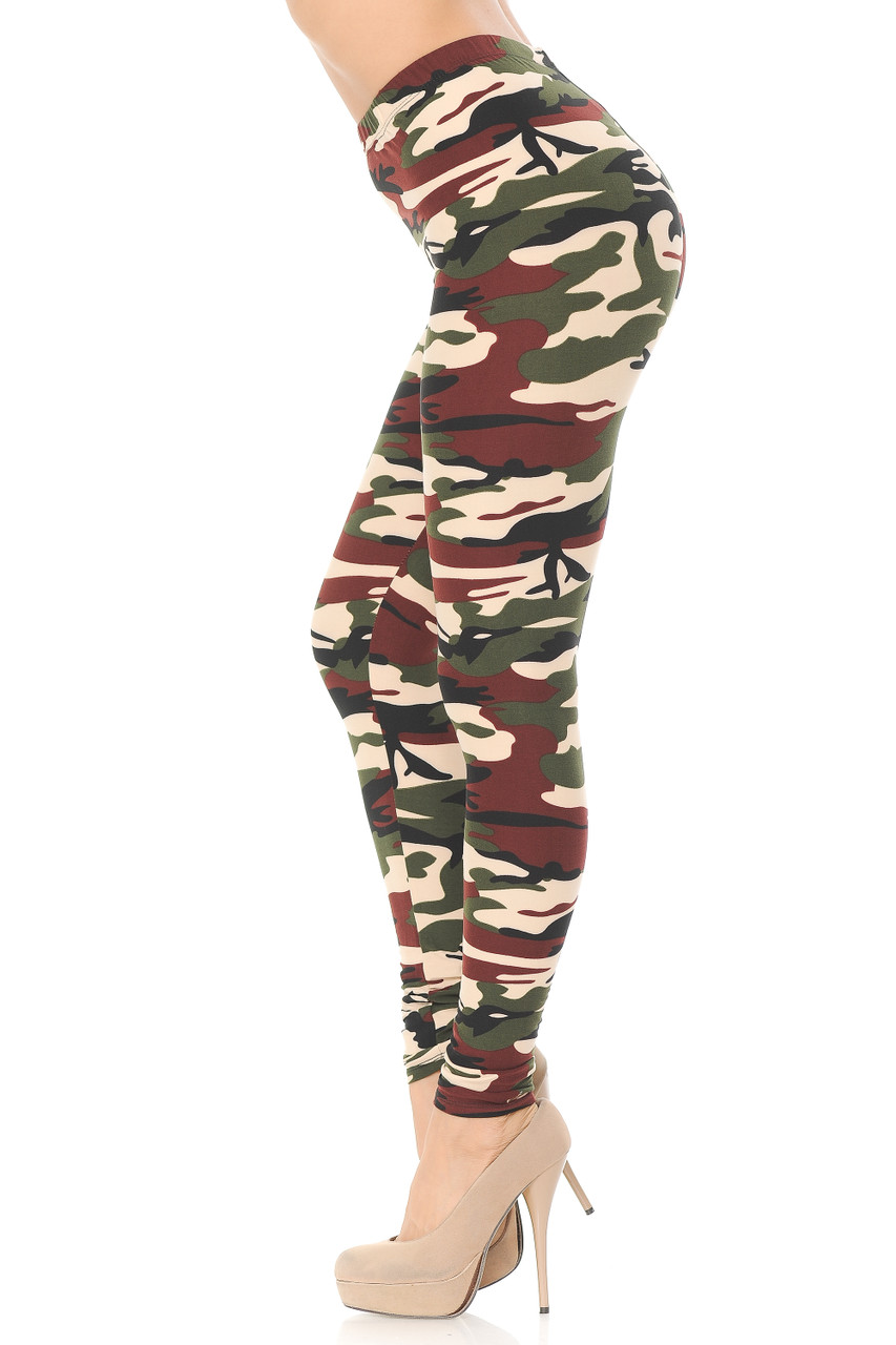 Left side view image of Buttery Soft Cozy Camouflage Plus Size Leggings
