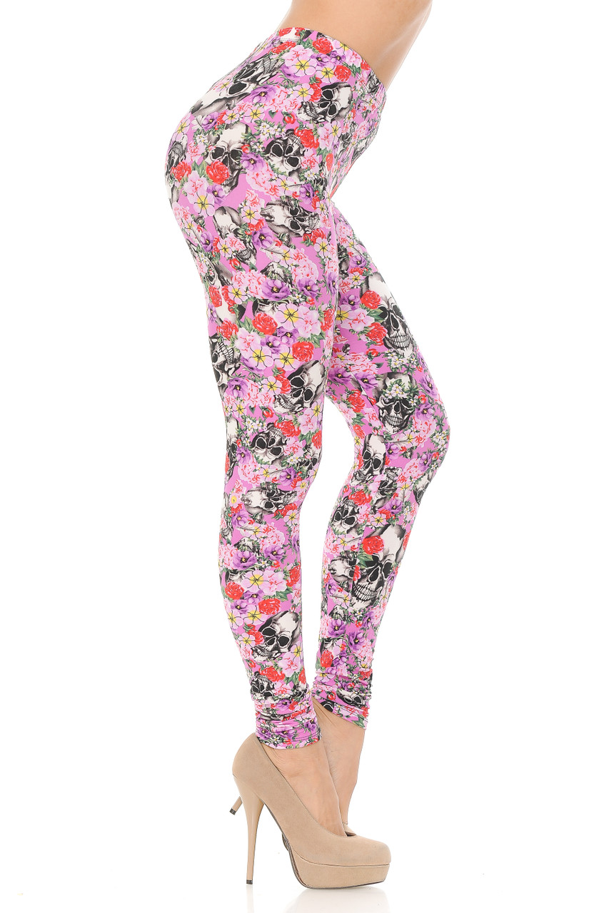 Right side view of Buttery Soft Pink Blossom Skulls Leggings.