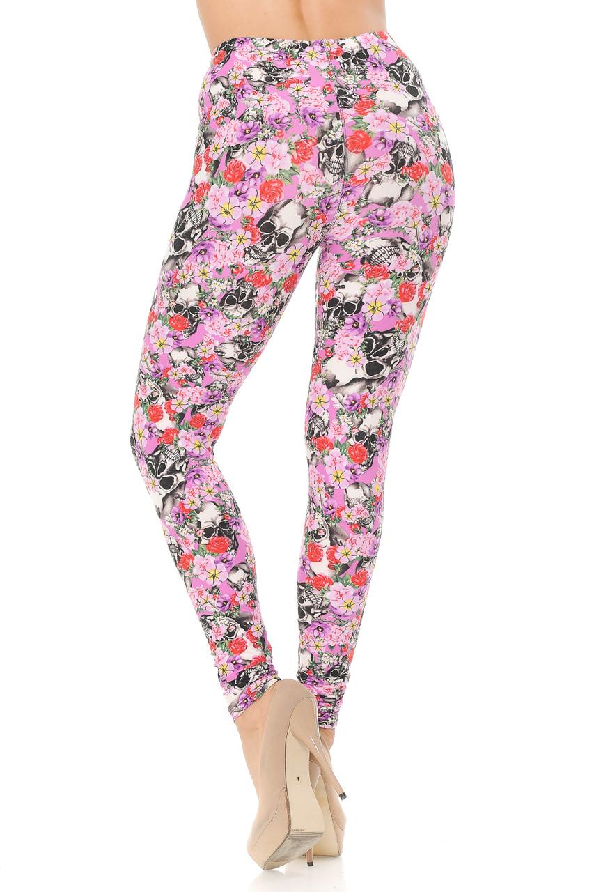 Back view image of Buttery Soft Pink Blossom Skulls Leggings