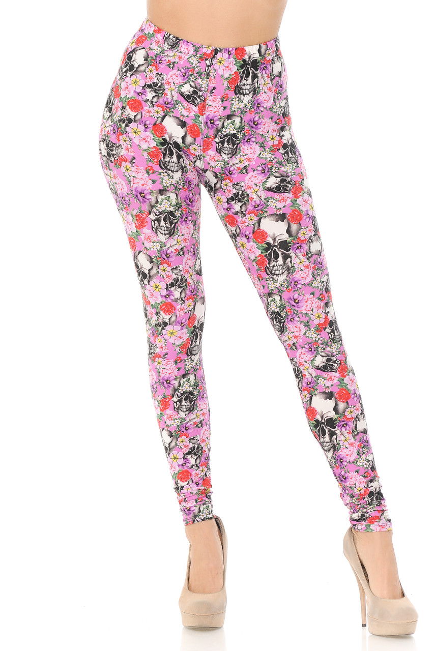 These Buttery Soft Pink Blossom Skulls Extra Plus Size Leggings feature a full length skinny leg cut.