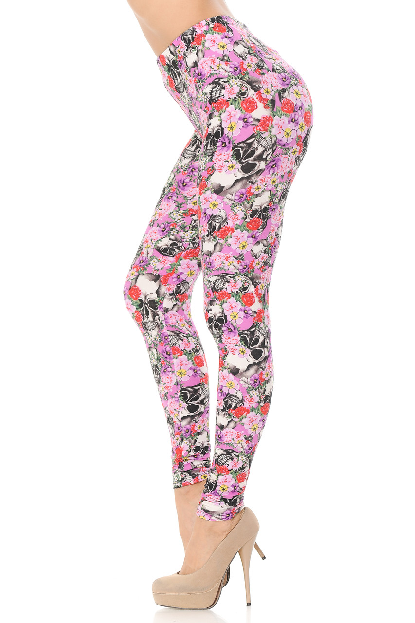 Left side view image of Buttery Soft Pink Blossom Skulls Extra Plus Size Leggings.