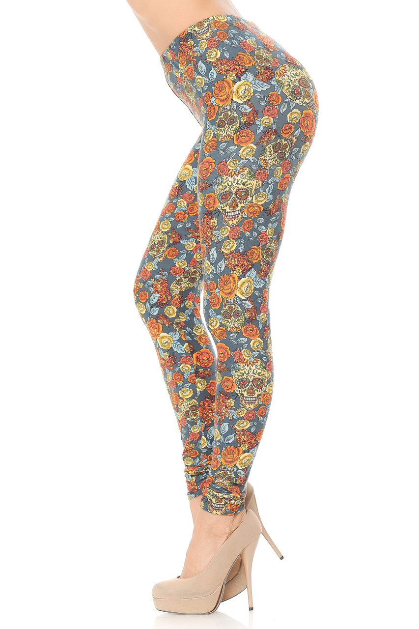 Left side view of Buttery Soft Charcoal Rose and Skulls Leggings.