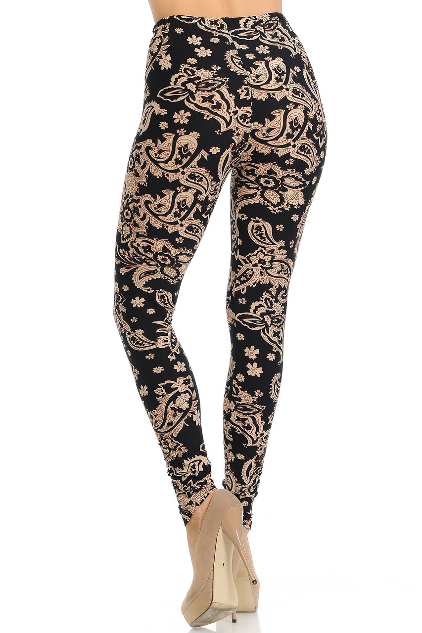 Back view of our flattering body fitted Buttery Soft Sand Pepper Paisley Leggings.