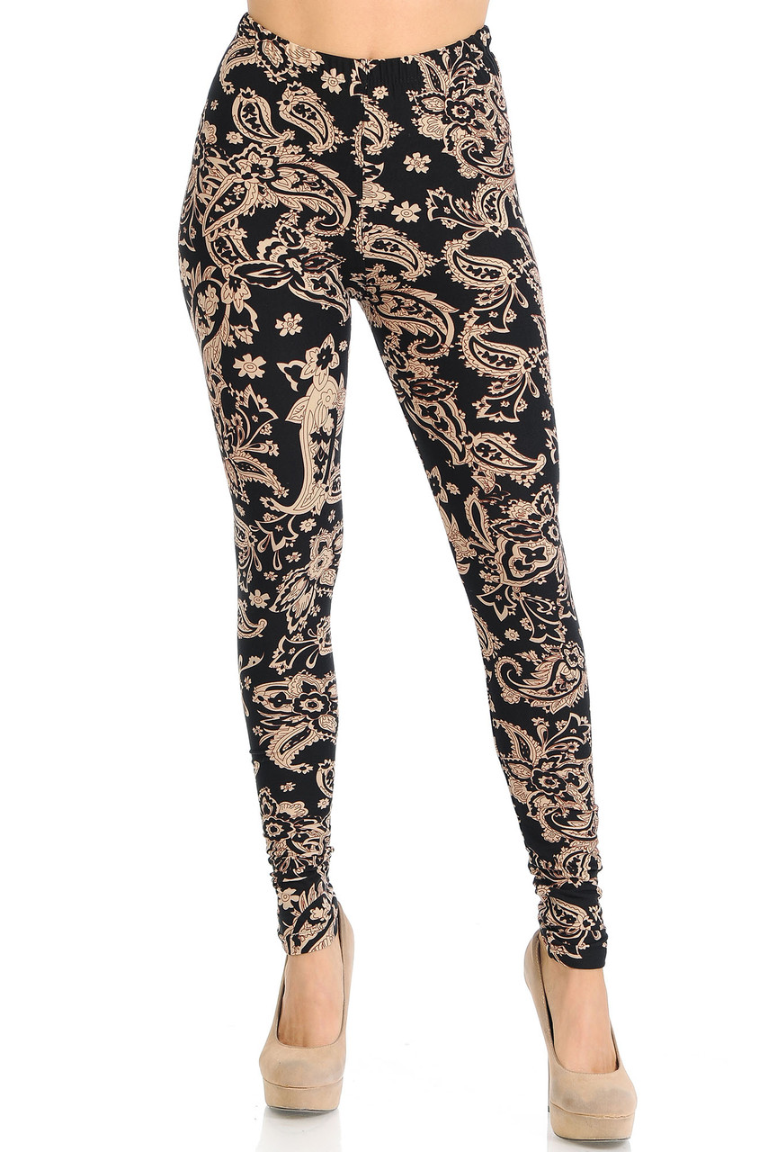 Front view of Buttery Soft Sand Pepper Paisley Leggings with a full length skinny leg cut.