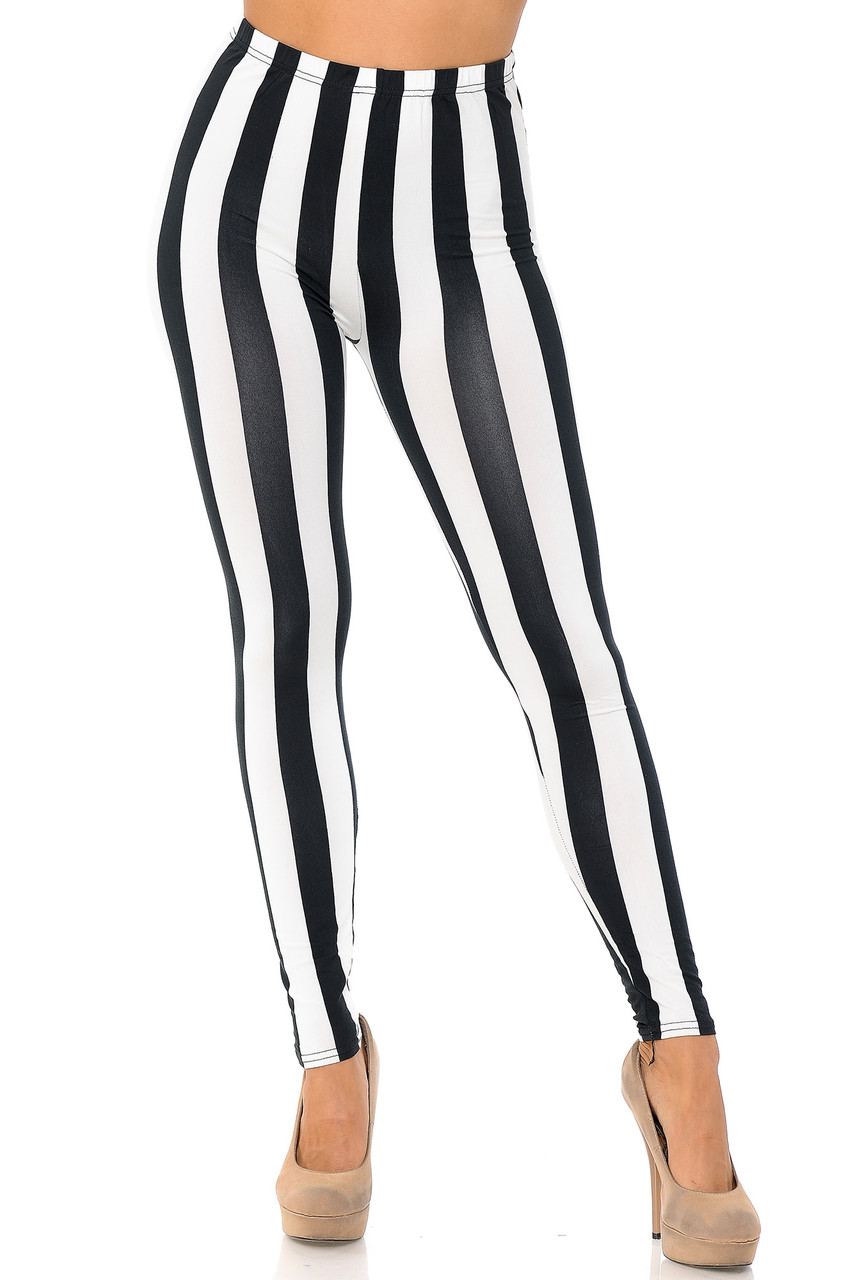 Our Buttery Soft Black and White Wide Stripe Plus Size Leggings feature a full length skinny leg cut.