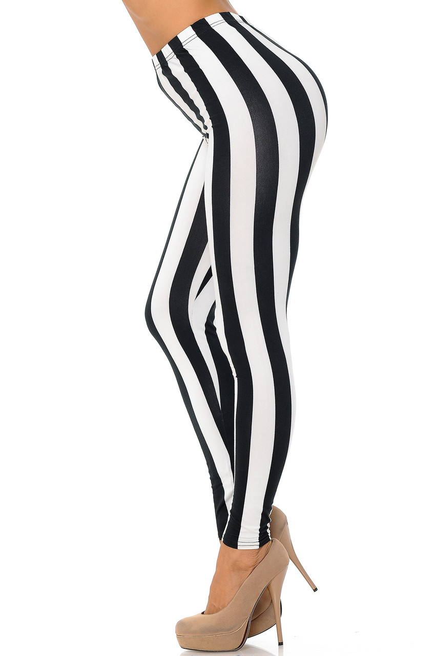 Left side view of Buttery Soft Black and White Wide Stripe Plus Size Leggings.