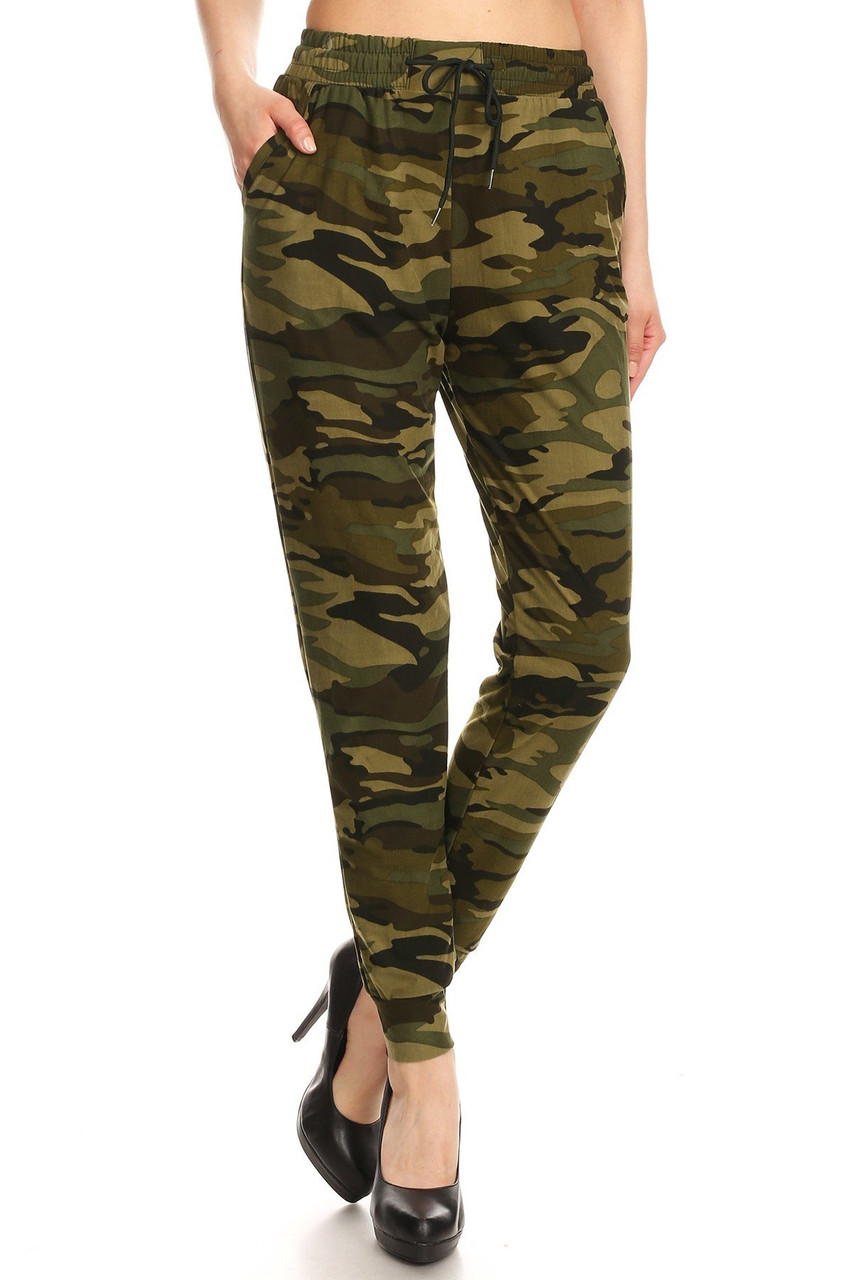 Front view of our Buttery Soft Olive Camouflage Joggers featuring an all over mixed olive classic army print design.