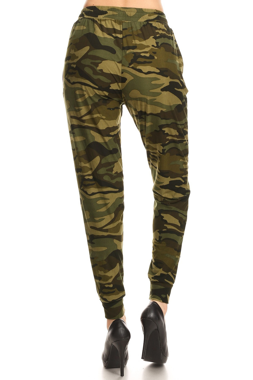 Rear view of our casual and trendy Buttery Soft Olive Camouflage Joggers featuring a loose fit.