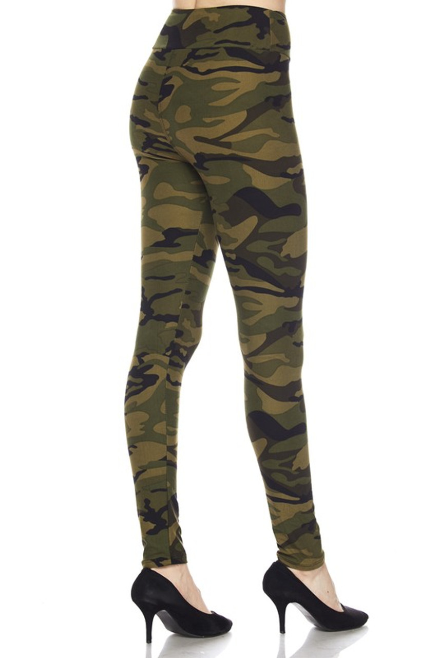 Rear  view image of our Buttery Soft Green Camouflage High Waist Leggings feature a flattering body fitted style.
