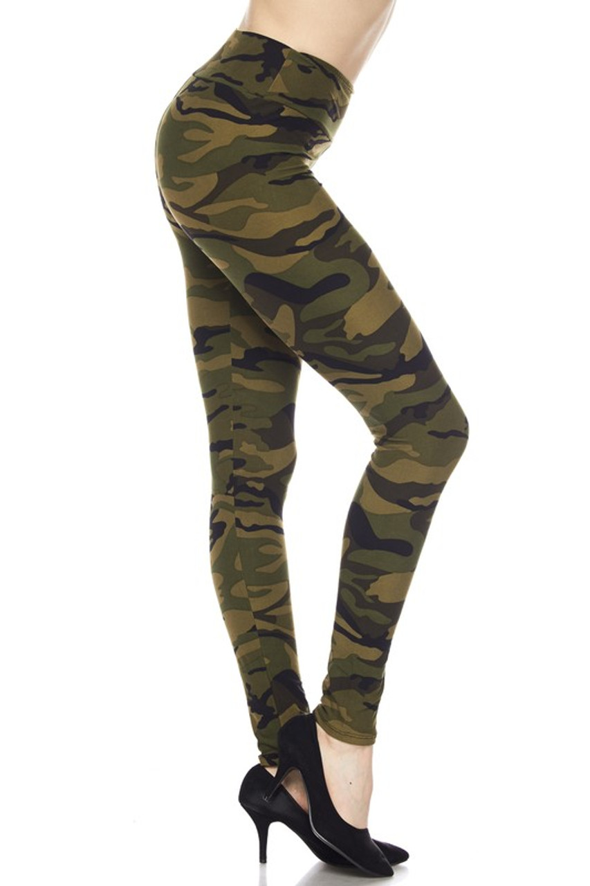 Right side view image of our Buttery Soft Green Camouflage High Waist Leggings with a look that is ideal for any season.