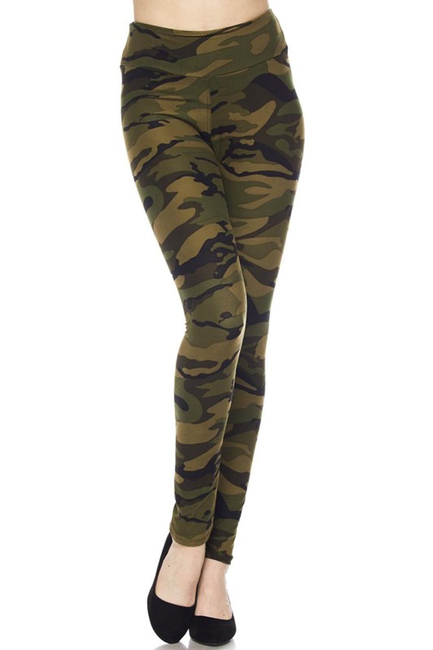 These Buttery Soft Green Camouflage High Waist Leggings feature a comfort fabric waist.
