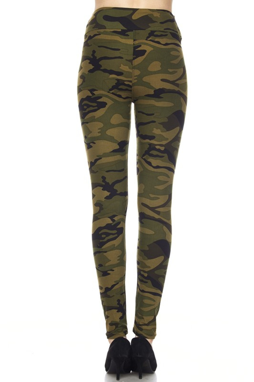 Back view image of Buttery Soft Green Camouflage High Waist Leggings