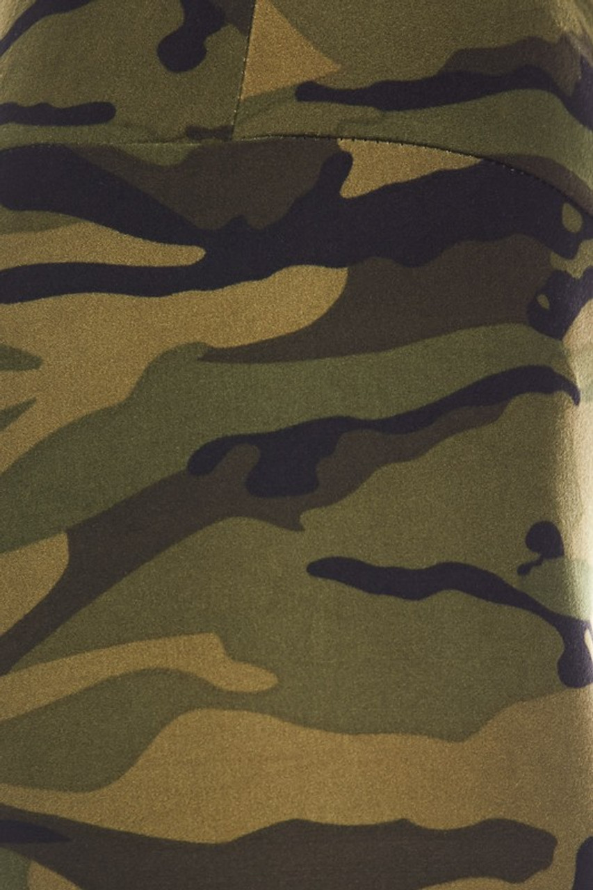 Close up swatch of Buttery Soft Green Camouflage High Waist Leggings